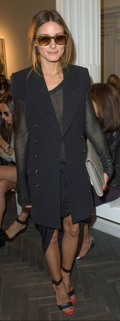 Olivia Palermo #LFW SS14 (Rachel Zoe vest, Bird by Juicy Couture shirt, Witchery skirt, Smythson clutch, Tibi shoes)