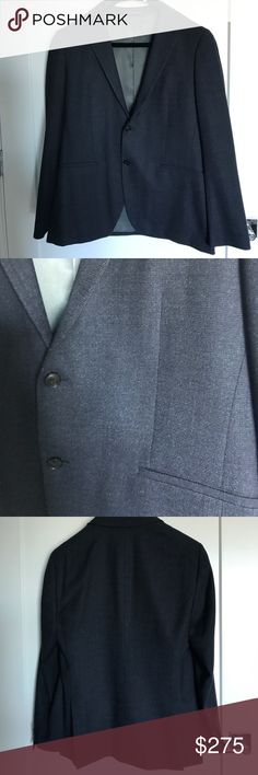 Men's theory blazer Simple light weight charcoal grey blazer in good condition. no longer fits my husband since he lost weight. Great with jeans for a night out. Gray silk lining with three interior pockets Theory Suits & Blazers Sport Coats & Blazers
