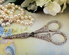 OLD STERLING SILVER SEWING SCISSORS DATED    Fine Antique English Sterling Silver Sewing Scissors with Sheath ...