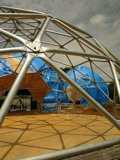 Tubular steel framing is an inexpensive and sturdy choice for a rock solid dome.