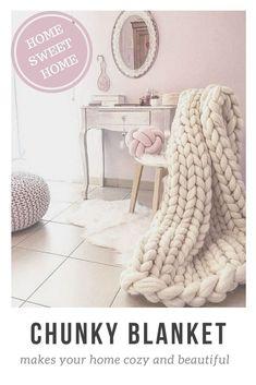 Chunky blanket Wool blanket 100 % merino wool king size #knitblanket #chunkyblanket #knitting #home #decor #etsy #affiliate