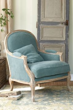 Helena Chair I - Striped Chair, Down Cushion Chair, Oak Chair | Soft Surroundings Really love the blue too!