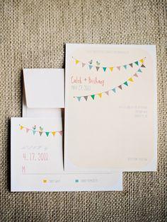 Bunting wedding invitation (Susan Dean)