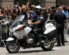 A Los Angeles Police Department officer participates in the 2012 NHL Stanley Cup Champions Los Angeles Kings Victory Parade.