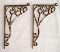 Antique-Pair-of-Victorian-Art-Nouveau-Brass-Shelf-Brackets-8-x-5-USA