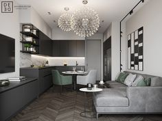 This modern four roomed apartment is located in the most prestige area of Saint-Petersburg on Krestovskiy island. It belongs to young and active family. Kitchen Interior, Room Interior, Oak Color, Residential Architecture, Apartment Design, Behance, Living Room Decor, Living Rooms, Small Spaces