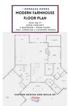 Elegant and functional modern farmhouse floor plan designed and built by Nordaas Homes, a full-service custom home builder in Minnesota. We have a variety of house plans--from single story, two story, small homes and more...all tried, tested