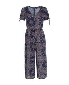 Blue Abstract Print V Neck Culotte Jumpsuit    New Look