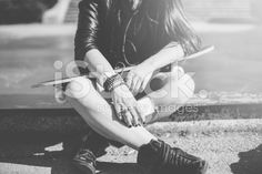 Teenage girl with skateboard outside royalty-free stock photo