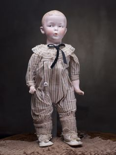 """Antique German Bisque Character doll """"Whistling Jim"""" by Gebruder Heubach Antique dolls at Respectfulbear.com"""