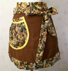 Womens Brown with Camo Apron, Towel Half Apron, Kitchen Apron, Serving Apron, Handmade Apron, Gift for Mom, Made in the USA,   I used a beautiful brown towel and added a waist band, ties and a pocket using a pretty print fabric. I added the larger gathered pocket .   Have wet hands and looking for a towel to wipe them on while doing your cooking or baking? No need to look any further. You are wearing your dish towel.   This towel apron will fit most adults and teens   Aprons make great…