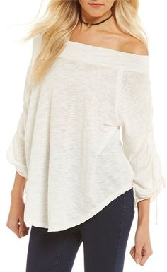 dc8eb416ab Free People Bohema Off-the-Shoulder Cinched Tee Off Shoulder Blouse