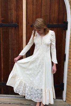 White Gunne Sax Dress Corset Prairie Boho Lace Full S