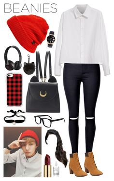 """Jungkook inspired Beanie outfit"" by lily-x-kpop ❤ liked on Polyvore featuring Y's by Yohji Yamamoto, Timberland, WithChic, Beats by Dr. Dre, Casetify, Echo, Aamaya by Priyanka, Urban Decay and Herbivore"