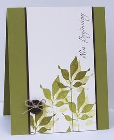 handmade card ... simple design ... shadow stamping of one leafy branch ... luv it!!