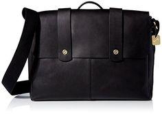 Skagen Men's Tranum Leather Messenger, Black