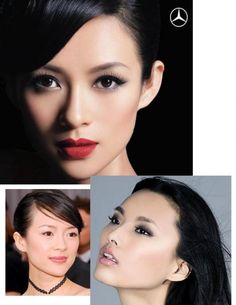 Asian Makeup: great red lips & dark eyes