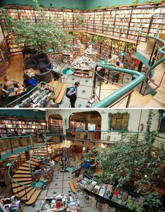 Super cool library~ For those who like their green spaces (and coffee shops) to invade their bookstores. Cafebreria El Pendulo, Mexico City, Mexico [photos via]