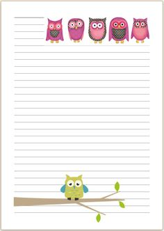 CUTE OWL Letter writing paper or - Stationary, penpal, bird, gift - Owl Writing, Writing Paper, Letter Writing, Printable Lined Paper, Free Printable Stationery, Pen Pal Letters, Dollar Tree Decor, Notebook Paper, Cute Owl