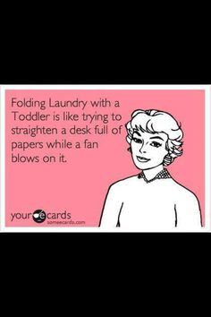 Seriously. Apparently the natural reaction to seeing a pile of laundry is to tackle it, step on it, or kick it over.