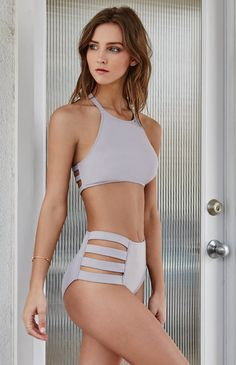 Strappy Side High Waisted Bikini Bottom