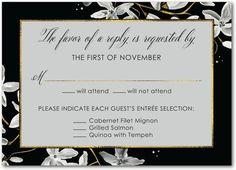 Sumptuous Swirls Signature White Wedding Response Cards Marchesa