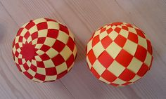 """Carol from extremecards sent me a picture of a """"Riemann sphere"""" and suggested to make a woven sphere. Here is the result. The exact shape of the strips was made by Anna using the Smash …"""
