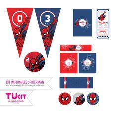 Kit Imprimible Hombre Araña - Spiderman - Candy Bar - $ 90,00 en MercadoLibre