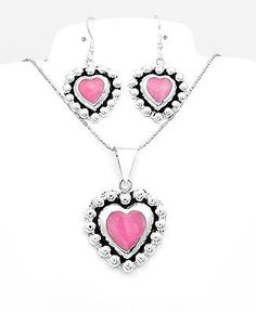 Mesoamerican-Silver-Pink-Cat-Eye-Heart-Necklace-and-Earring-Set-Taxco-Mexico