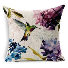"18""x45cm Hummingbird Flower 001 Pattern Cotton Linen Cushion cover Pillowcase in Home & Garden, Home Décor, Cushions, Decorative Pillows   eBay!"