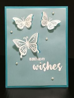 Created for my online card class, clear and sheer. I used the pearls to adhere the vellum to my card base. I embossed the butterflies and sentiment.