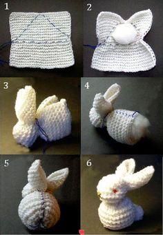 Baby Knitting Patterns Yarn A quick bunny to knit or crochet and give a baby gift. Crochet Diy, Crochet Amigurumi, Easter Crochet, Crochet Bunny, Crochet Crafts, Yarn Crafts, Diy Crafts, Simple Crochet, Quick Crochet
