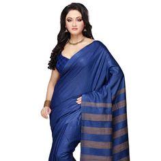 #Blue #SilkSaree with Blouse Kerala Saree, South Indian Sarees, Trendy Sarees, Tussar Silk Saree, Ethnic Dress, Silk Sarees Online, Half Saree, Sari, Pure Products