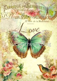 Decoupage Glass, Decoupage Vintage, Decoupage Paper, Vintage Paper, Floral Vintage, Vintage Tags, Vintage Prints, Vintage Posters, Butterfly Art