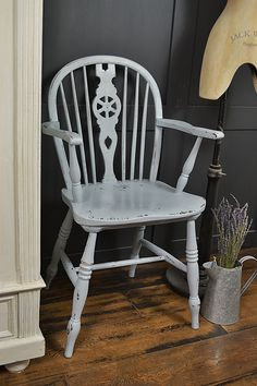 This antique wheelback chair painted in Valspar Driftwood Blues, adds a calming vibe and would sit perfectly in a bedroom or hallway. http://www.thetreasuretrove.co.uk/seating/shabby-chic-antique-wheelback-carver-chair
