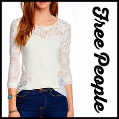 """FREE PEOPLE LACE TEE Cutout Back Top  New with manufacturer's packaging  Retail: $78  FREE PEOPLE Cutout Lace Back Ivory Top * Boat neck * Incredibly soft, stretch-to-fit lightweight fabric  * Long sleeves & crisscross back cutout & eyelet lace details; A semi backless style * About 27"""" long * Semi-fitted silhouette & pullover style  Color: Cream/Ivory Item:  Fabric: 90% Cotton & 5% Spandex; Machine wash cold T-Shirt No Trades ✅Considered*/Bundle Discounts✅ *Please use the blue 'offer'…"""