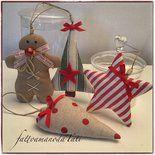 Decorazioni natalizie B in cotone,gingerbread,stella,albero e cuore