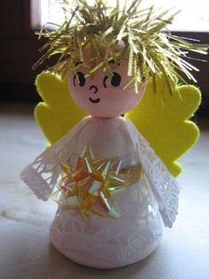 Výsledek obrázku pro andílek výrobek Homemade Christmas, Christmas Crafts, Christmas Ornaments, Ava, Baby Shower, Holiday Decor, Winter Craft, Home Decor, Xmas