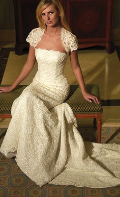 A gorgeous Augusta Jones Sterling strapless, form fitting A-line gown featuring very rich corded lace. It has covered buttons down the back and is . Wedding Dress Prices, Modest Wedding Dresses, Designer Wedding Dresses, Bridal Dresses, Wedding Gowns, Bridesmaid Dresses, 1920s Wedding, Sheath Dresses, Dresses Uk