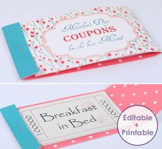 Make a stunning Mothers Day Coupon Booklet for your Mom