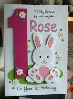 Personalised 1st Any Age Bunny Rabbit Birthday Card Daughter Granddaughter etc.