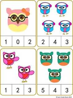 Owls Count and Clip Cards: Numbers 1-20