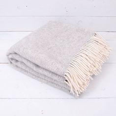 70 Euro Herringbone Grey Wool Blanket | Shedquarters