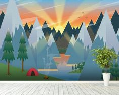 Kids' Room Ideas: Creating a Mural from Wallpaper Playroom Mural, Kids Room Murals, Kids Room Paint, Bedroom Murals, Nursery Murals, Camping Bedroom, Camping Wallpaper, Mountain Mural, Forest Mural