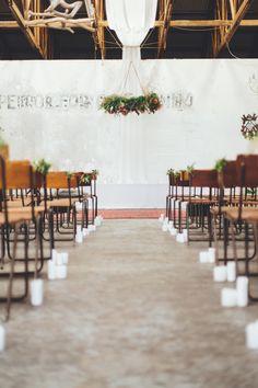 Rustic Chic South African Warehouse Wedding at Blue Bird Garage Wedding Reception Seating, Rustic Wedding, Wedding Ceremony, Wedding Venues, Forest Wedding, Dream Wedding, Outdoor Wedding Decorations, Ceremony Decorations, Industrial Wedding Inspiration