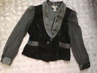 Vintage 80's R&K Evening Black Velvet Jacket Sz 10 P Sheer Long Sleeve