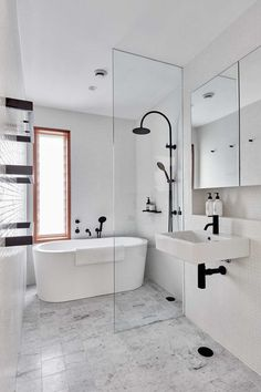 Wetroom Renovation - Black Bathroom Fittings - Freestanding Bath - On the Ball Bathrooms - Bathroom Renovations Perth