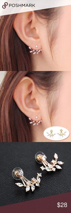 14k Gold Plated Leaf CZ Studs Jacket For Women New Fashion Needle Zircon Stud Earrings for Women Zinrcon Leaf Gold Color Ear Jacket Earring Queen Esther Etc Jewelry Earrings