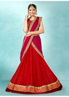 Traditional Red Georgette Lehenga Choli - 78224