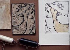 """Животные ручной работы. Заказать """"молодой олень"""", линогравюра, авторская печать,. Antonina Pylaeva. Ярмарка Мастеров. Линогравюра, бумага с хлопком"""